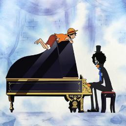 ビンクスの酒钢琴简谱 数字双手 尾田荣一郎